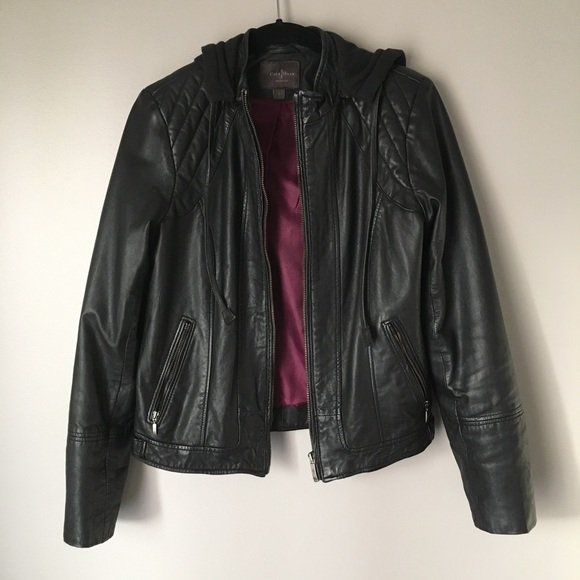 Cole Haan Jackets Coats Quilted Leather Moto Jacket W Hood